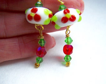 Red Earrings - Green Earrings - White Earrings - Floral Doodaba Lampwork Glass Dangle Earrings