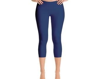 Capris Indigo Leggings, Blue Yoga Pants for Women, Mid Rise Waist Workout Pants