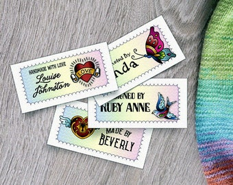 """Custom Fabric Labels, Tags,  2.25""""W x 1.125""""H, Personalized, Custom Sizes, Custom, Tattoo-Style Art, 100% Cotton, Colorfast, Washable, Uncut"""