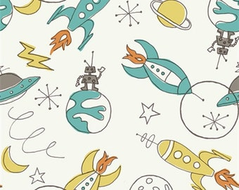 Retro Rockets/Robots in Space of 100% Certified Organic Cotton Poplin from Monaluna Circa 52 Collection for Birch Fabrics Sold by HALF Yard