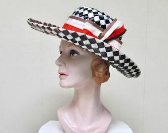 1960s MR. JOHN Hat / 60s Mod Black White Brown Woven Cello Straw Wide Brim Sun Hat