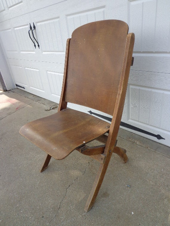 - Antique Wood Folding Chair Vintage Country French Theater