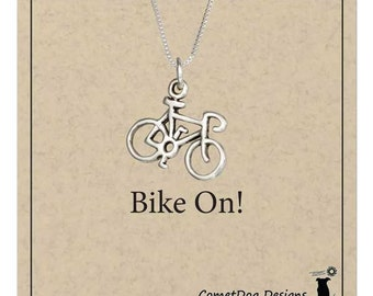 Sterling Silver Bicycle Pendant Necklace | Bike Charm, Love to Bike, Bicycle Jewelry, Bike Gift, Spinning, Cyclist, Spin Class Gift
