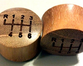 """Custom Handmade Organic """"Gear Shifter"""" Wood Plugs  -- You choose wood type/color and size 7/16"""" - 30mm"""