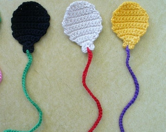 Crocheted Balloon Appliques, Embellishments, Magnets or Pins - Choose Your Colors