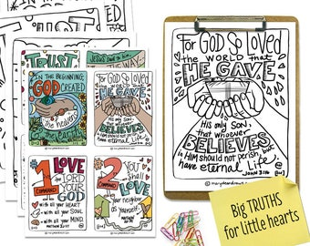 """PRINTABLE DIGITAL DOWNLOAD Scripture Bible Verse """"Big Truths for Little Hearts"""" Set for young children // 8 cards + 8 Bible Coloring Pages"""
