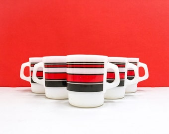 Fire King 'Super Stripe' mugs, in red - three remaining