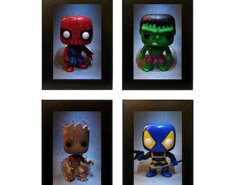 "Framed Marvel Pops Toy Photos 4"" x 6"" Funko"
