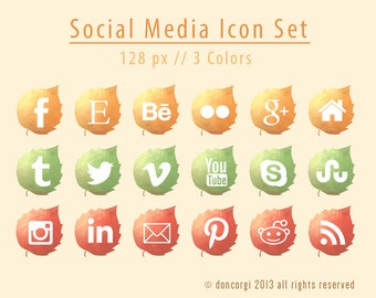 Autumn Leaves Social Media Icons | 18 Icon Set | Website Icons | Social Media Logos | Social Media Symbols - INSTANT DOWNLOAD