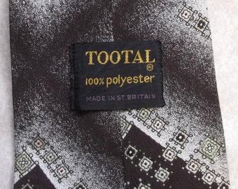 Vintage wide tie by Tootal 1970s retro funky necktie mod dark brown pale green pattern
