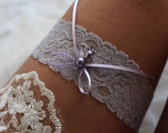 Bridal garter, Pastel lilac garter, lilac garter, made to measure garter