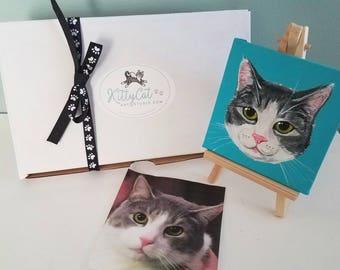 Custom Cat Painting - Cat Portrait - Mini Cat Portrait - Small Cat Portrait  - Cat Memorial - Cat Lover Gift - 4 x 4 inch - Easel available