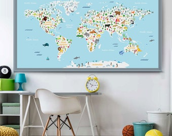 Animal world map etsy large animal world map kids world map poster nursery world map baby room map kids map gumiabroncs Gallery