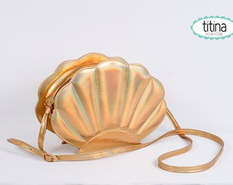 holographic gold  faux leather mermaid sea shell bag purse