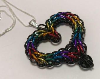 Rainbow Full Persian Heart Necklace