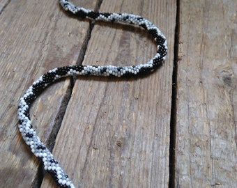 Snake beaded crochet necklace Black snake necklace Bead crochet rope necklace, Snake choker necklace