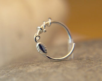 Nose Ring - Tragus Ring - Nose Hoop - Helix Piercing - Nose Ring Hoop - Sterling Silver Textured Hoop - 22-16 gauge 7mm Inner Diameter Hoop