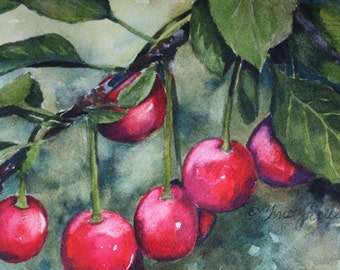 Cherries Watercolor Painting Artwork Original Red fruit nature red cherry decor wall art Christy Sheeler summer garden fresh