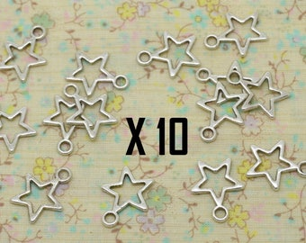 10 x card perforated hollow star charm share silver metal