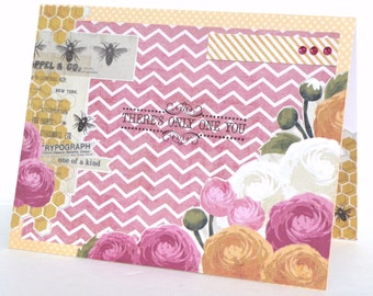 Happy Birthday Handmade Greeting Card for Her - Handmade Paper Card with Coordinating Embellished Envelope