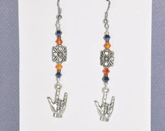 Earrings Silver Floral Orange Blue Metallic Crystal I love You Sign Language Flower Hand #D05a One Of A Kind