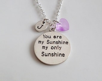 You are my Sunshine necklace, Daughter gifts, Granddaughter gifts, Hand stamped necklace, custom jewelry, Initial necklace, Gifts for Her