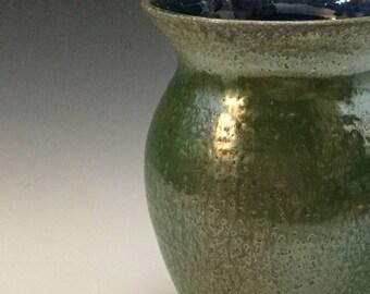 Green Vase - Elegant Vase - Salt Fired - Handmade Pottery