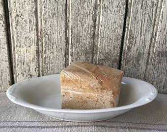 Small Oval White Ironstone Soap Dish Lye Soap