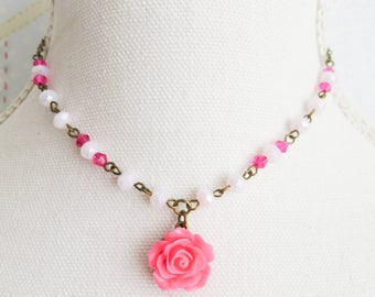 Hot pink flower necklace, pink rose necklace, junior bridesmaid jewelry, wedding jewelry, flower girl gift, bridal jewelry