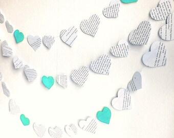 Paper hearts garland, vintage printed paper mint wedding garland, 10 ft handmade mint wedding shower decor