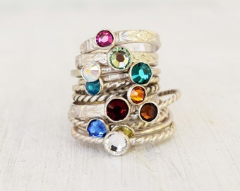 Swarovski Crystal Ring, Customize Band and Color, Faceted Crystal, Sterling Silver Stacking RIng, Mothers Day Gift, Birthstone Jewelry