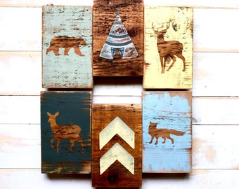 Woodland Wall Decor - Woodland Animal Art - Rustic Nursery Boy - Nursery Wall Art - Woodland Nursery Boy - Woodland Nursery Art -