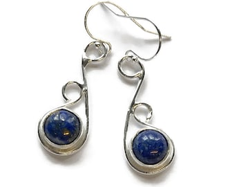 Lapis Asymmetrical Drop Earrings