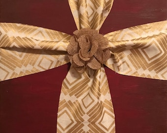 Fabric cross with painted canvas
