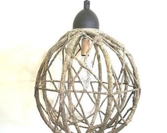 Sphere pendant light, rustic metal twig hanging light, orb light, cabin decor