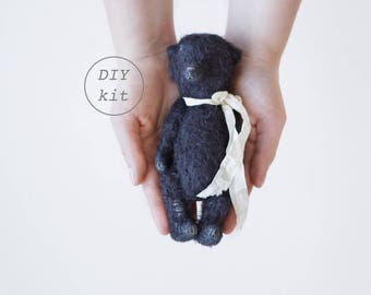 Black Mohair Teddy Bear DIY Kit 7 Inches, Stuffed Animal Sewing Kit, Soft Toys Craft Kit, Artist Teddy Bear, Crafter Gift, Ready To Ship