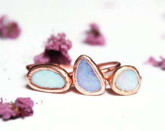 Australian Opal Ring, Large Opal Stacker, Copper Electroformed Ring, Gemstone, Small Stone, Stacking Ring, Shiny Copper, Blue Boulder Opal