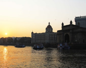 Gateway of India photography digital download, Taj Hotel, Urban scenes, Mumbai, Arabian Sea, Sunset views, silhouettes, Iconic structures