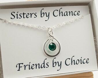 December Birthday Gift for Sister, Sister Jewelry Infinity Necklace, Sister Necklace, December Birthstone Necklace Gift for Sister, Eternity