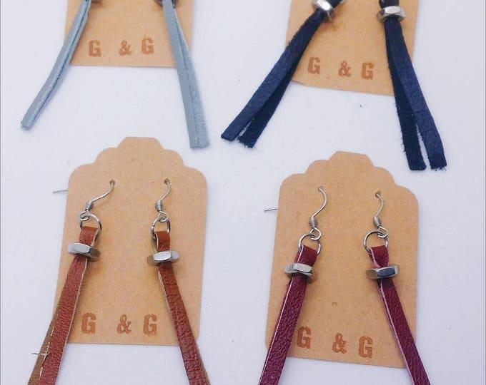 Earrings - RECLAIMED LEATHER DANGLE