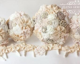 Fabric Bouquet, Vintage Bouquet, Rustic Bouquet, Unique Wedding Bridal Bouquet, bridesmaid bouquet