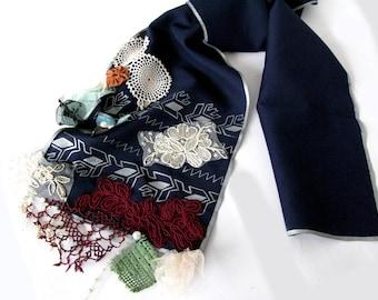 Art to wear scarf/thin silk acrylic dark blue scarf*handmade*handpainted