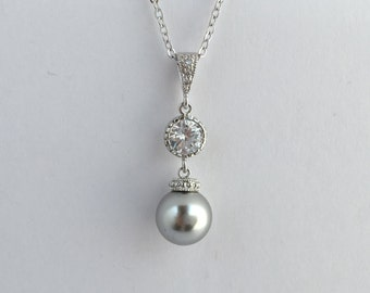 Grey Pearl and Crystal Bridal Necklace Wedding Cubic Zirconia and Pearl Pendant Rhodium Swarovski Pearl Jewelry