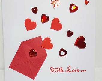 Saint Valentin card, carte de voeux, hand made card, friendship card, carte d'amitié, greeting card