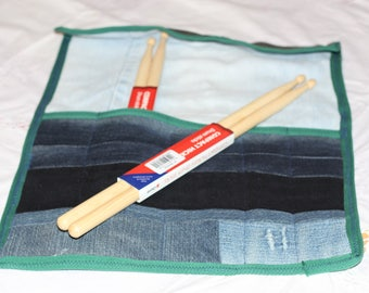 Drumstick / knitting needle roll, Up-cycled