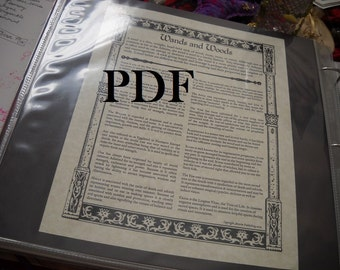 Wands and Woods PDF -- Book of Shadows -- BOS page