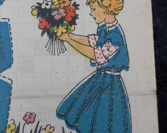1948, Bleuette, sewing patterns, antique doll patterns, la semaine de suzette 8 numbers - FRENCH LANGUAGE(ref 190)