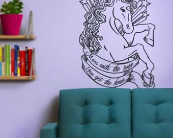 unicorn wall decal, unicorn sticker, unicorn art, FREE SHIPPING