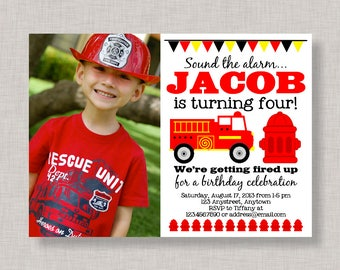 Firetruck Birthday Invitation, Firetruck Birthday Party, Printable