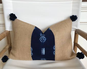 Indigo Tie Dye Fabric and Natural Burlap Lumbar Pillow Cover